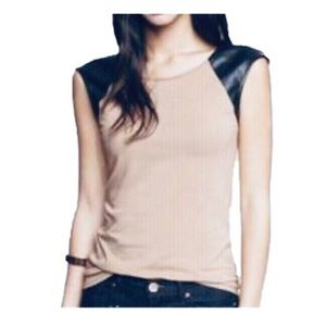 EXPRESS | (Minus The) Leather Cap Sleeve Top
